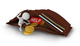 3D白人作为硬币在钱包里 免版税库存图片