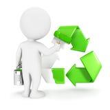 3d白人绘回收标志 免版税图库摄影