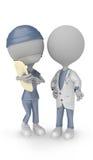 3D白人医生和护士 库存图片