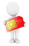 3d白人sim卡片 免版税库存照片