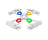 3d白色人的手拿着色的齿轮(嵌齿轮) 3d例证 库存图片