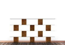 3d白色墙壁和书架木头背景 免版税库存照片