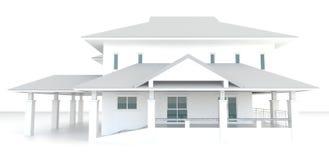 3D白色房子建筑学外部设计在白色背景中 免版税库存图片