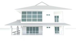 3D白色房子建筑学外部设计在白色背景中 免版税库存照片