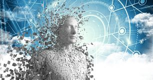 3D白色男性反对蓝色接口的AI与云彩 免版税库存照片