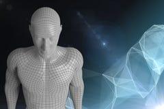 3D白色男性反对黑暗的背景的AI与数字式云彩 免版税库存照片