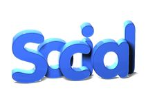 3D白色背景的词社交 库存图片