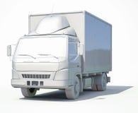 3d白色送货卡车象 库存照片
