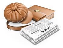 3D盖帽公文包和报纸 最新的新闻概念 库存图片