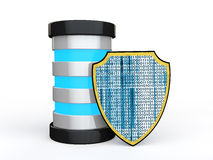 3d盾和未来派服务器 免版税库存照片
