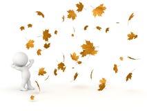 3D看落的秋叶的字符 免版税图库摄影