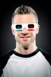 戴3d眼镜的一个人的画象 库存图片