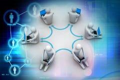 3d研究在网上膝上型计算机的人的例证 免版税库存图片