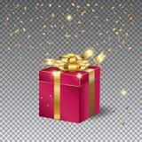 3D礼物盒和五彩纸屑 库存例证