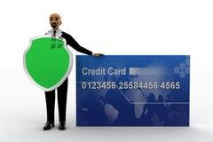 3d秃头人holading的盾和有信用卡的 库存例证