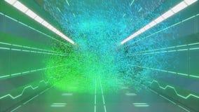 3d科学幻想小说未来派空间走廊翻译有霓虹绿色抽象形状和设计的在墙壁和飞行微粒上 皇族释放例证