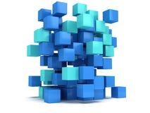 3D立方体块 聚集的概念 库存例证
