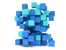 3D立方体块 聚集的概念 皇族释放例证