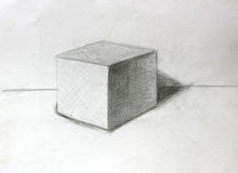 3D立方体铅笔剪影 免版税图库摄影