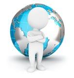 3d站立在地球前面的白人 免版税库存图片