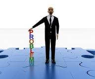3d站立在蓝色七巧板的秃头人编结与五颜六色的问题字体 免版税库存照片