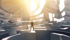 3d站立在迷宫的翻译商人 免版税库存图片