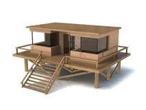 3d简单的房子模型 免版税库存图片