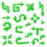 3d箭头绿色例证向量 套不同的发光的网标志 免版税图库摄影