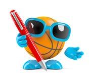 3d篮球写与笔 库存照片