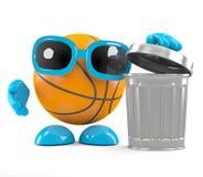 3d篮球把垃圾扔出去 库存图片