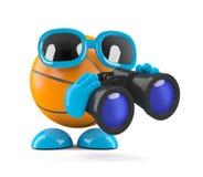 3d篮球通过双筒望远镜看 库存照片
