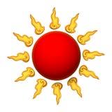 3D红色太阳 免版税库存图片
