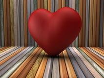 3d红色心脏形状在木屋子里 免版税库存图片