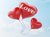 3d红色心脏气球 在蓝天的情人节概念 免版税库存图片