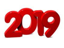 3D红色新年2019年在白色背景 库存图片