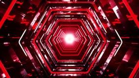 3D红色科学幻想小说六角形隧道VJ圈背景 库存例证