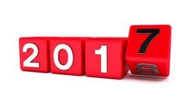 3d红色立方体的动画与2017年- 2018年-代表新年2018年 向量例证