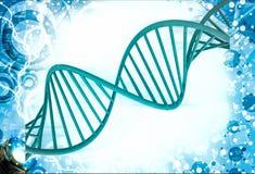 3d红色脱氧核糖核酸例证 库存照片
