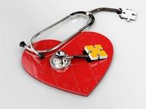 3d红色难题心脏的例证与听诊器的在白色背景 免版税库存图片