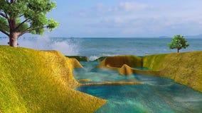 3D给与碰撞在岸的海和波浪的风景赋予生命 皇族释放例证