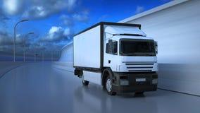 3D继续前进高速公路的白色卡车的例证在晴朗的夏日 库存例证