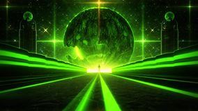 3D绿色科学幻想小说行星眼睛隧道VJ圈背景 股票视频