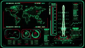 3D绿色红色HUD火箭接口行动图表元素