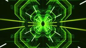 3D绿色霓虹隧道Loopable行动背景 股票录像