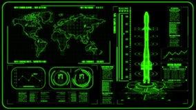 3D绿色HUD火箭接口行动图表元素