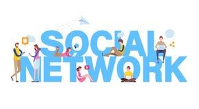 3d网络照片回报了社交 联机用户 使用申请的人们的对社会媒介有大信件背景 平的动画片传染媒介 向量例证