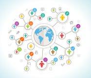 3d网络照片回报了社交 与世界地图的平的设计观念 库存例证