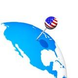 3d美国别针在美国 免版税库存照片