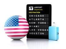 3d美国机场在白色ba的板和旅行手提箱 免版税图库摄影