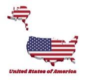 3D美国,水平的条纹的地图概述红色和白色与在一个蓝色领域的五十个白色星 皇族释放例证